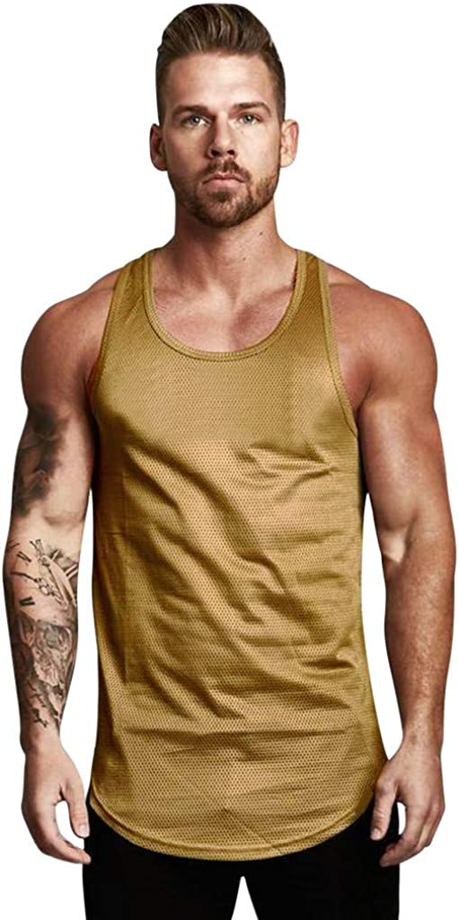 VEKDONE Men's Athletic Workout Tank Tops Performance Mesh Sleeveless Bodybuilding Muscle Gym Tops Blouse Shirts
