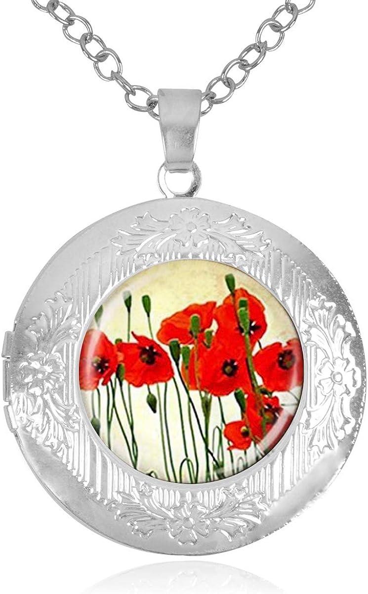 Women's Popular products Custom Locket Regular dealer Closure Pendant Necklace Flower Poppies In