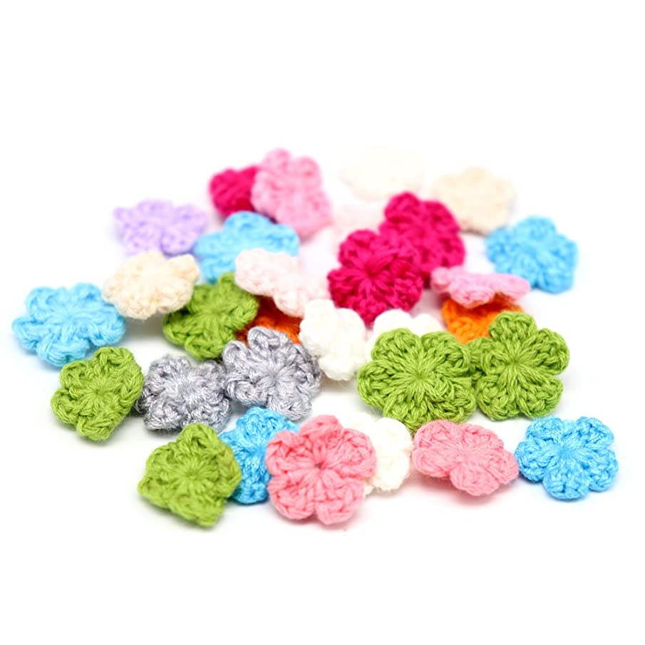 30pcs/lot 1.9cm Random Color Knitted Handmade Cotton Crochet Flower Patch Applique (Style 1)