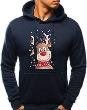 QingJiu Damen Revers Hoodies Weihnachten Hirsch Gedruckt Sweatshirt mit Langen /Ärmeln Pullover