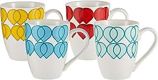 Symphony Hearts Mug Set Of 4, 300 Ml - White