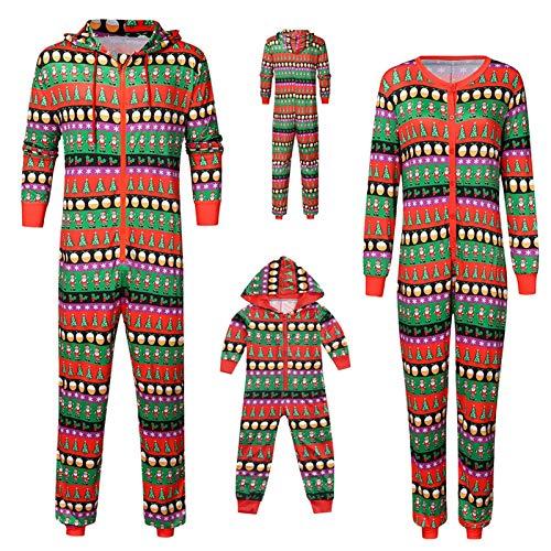 Yumso Noël Parent-Enfant Siamois Pyjama Noel Famille Père Mère Garçon Fille Pyjamas Capuche zippé Manches Longues Set Pyjama Impression Service à Domicile Siamois