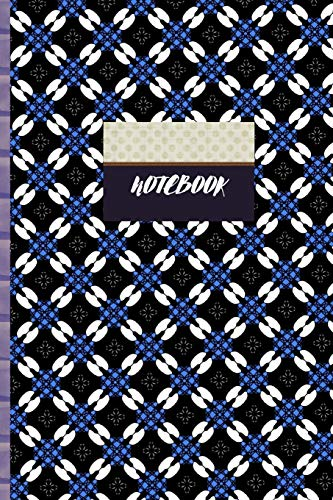NOTEBOOK: BLUE AND WHITE GEOMETRIC PATTERN COMPOSITION JOURNAL WORKBOOK WIDE-RULED LINED PAGES