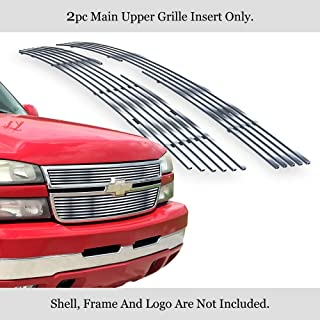 APS Compatible with 2005-2006 Chevy Silverado 1500 2500 HD 3500 07 Silverado Classic Style Stainless Steel Silver 8x6 Horizontal Billet Grille Insert N19-C60356C