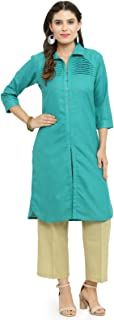 indibelle Teal Cotton Pathani Style Formal Kurta With Ankle Length Trouser