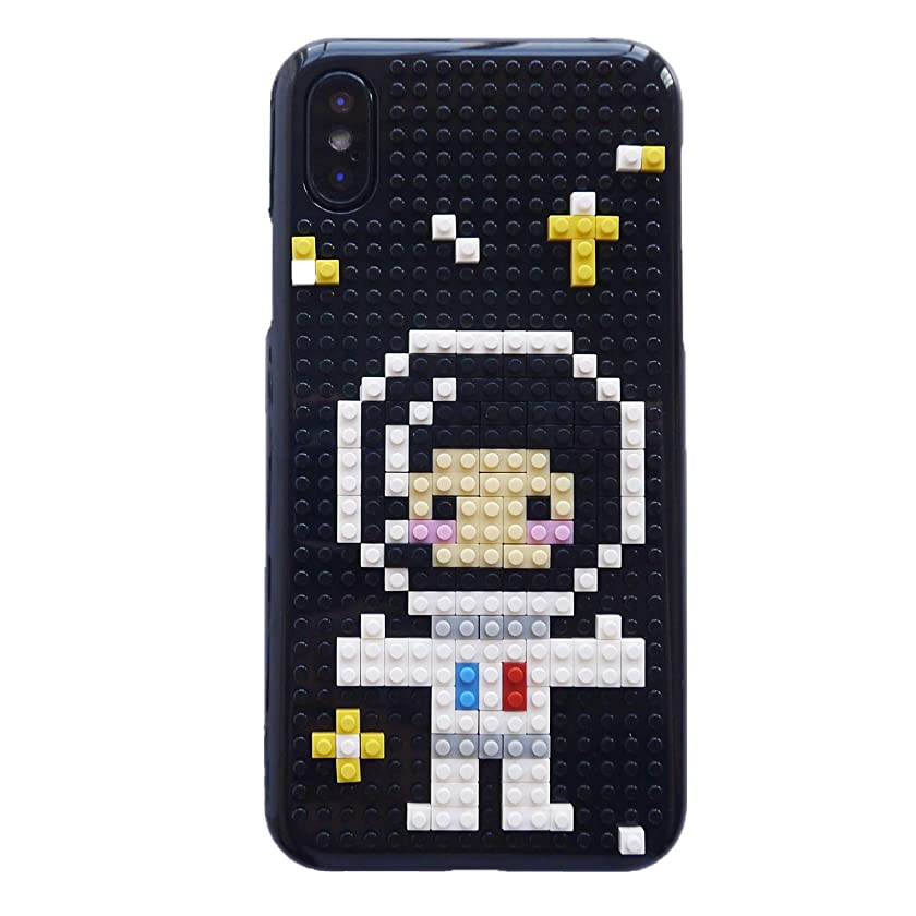 iPhone Xs Max Case, DMaos Cute Cartoon 3D DIY Mini Building Blocks Toy for Boys and Girls Creative Ability, Cool for iPhone 10s Max 6.5 Inch 2018 - Space Man