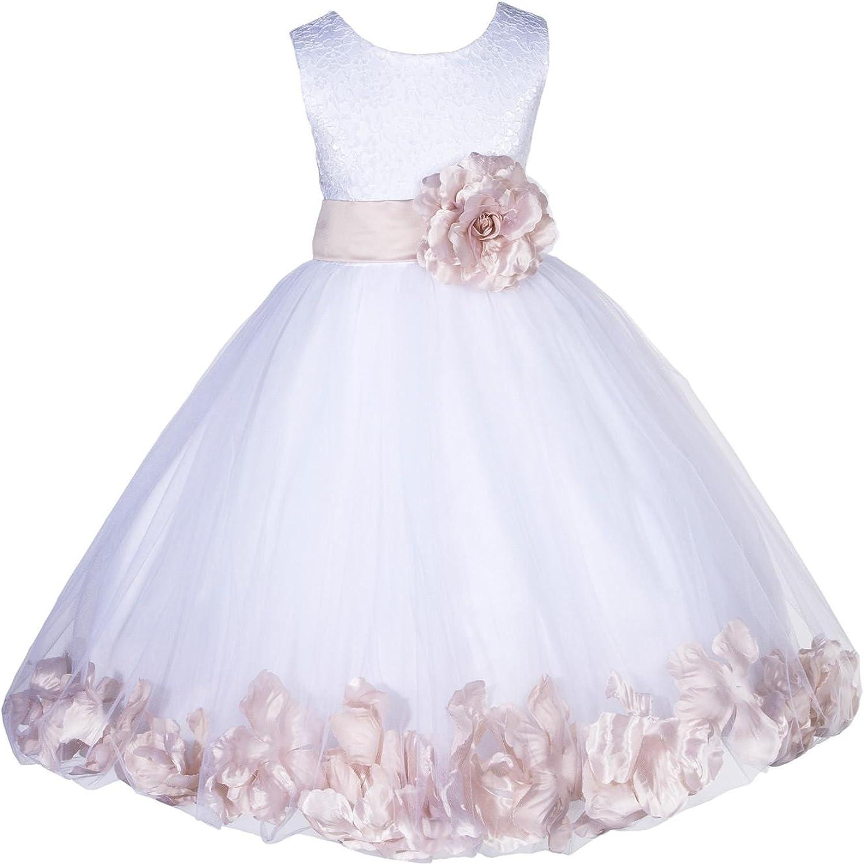 ekidsbridal Wedding Pageant Floral Lace Rose Petals Ivory Tulle Flower Girl Dress 165S