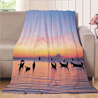 Blanket Comfort Warmth Soft Air Conditioning Easy Care Machine Wash House,Fishing Decor,Sunset on Sea with Silhouette Ships at Suratthani Asian Bay Relaxation,Blue Yellow Coral,47.25