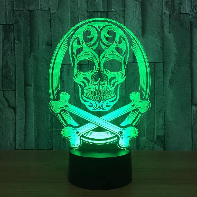 WZYMNYD 3D LED Schlafzimmer Nacht 7 Farbwechsel Atmosphre Schdel Lampe Nachtlicht Pirat Schreibtischlampe Kinder Weihnachtsgeschenk Dekor Schlaf Licht