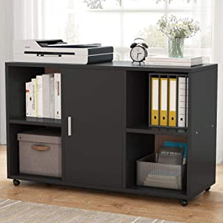 File Cabinet, Tribesigns Mobile Filing Cabinets, Works as Printer Stand & Office Cabinet with Door Storage Cabinet and 4 Open Cubes for Home Office