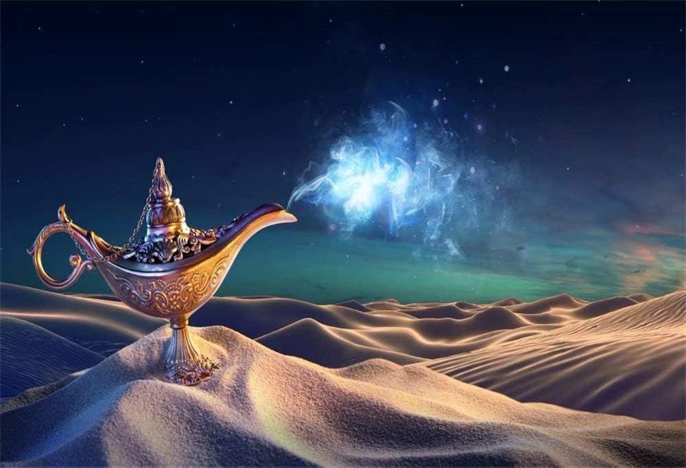 DaShan 14x10ft Old Fairy Tale Happy Birthday Backdrop Aladdin Theme Birthday Party Decor Myth Aladdin Genie Lamp Photography Background Arabian Nights Kids Baby Adult Photo Shoot Studio Props