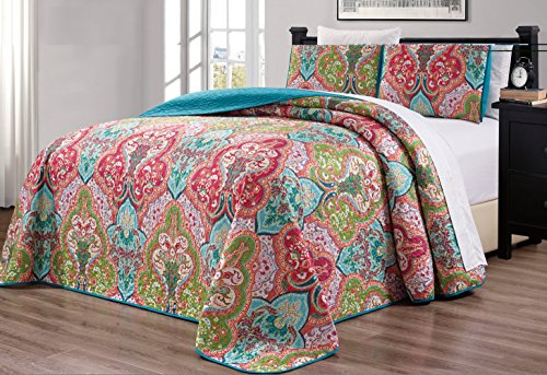3-Piece Oversize (115' X 95') Fine Printed Prewashed Quilt Set Reversible Bedspread Coverlet King Size Bed Cover (Turquoise Blue, Sage Green, Orange, Terra Cotta Red)
