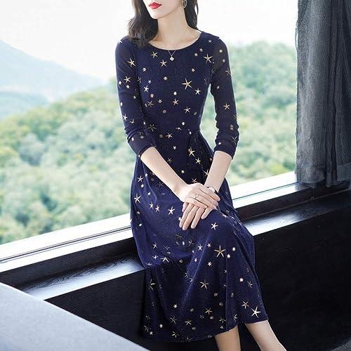 BINGQZ Robe Femme en Printemps 2019 Nouveau Style Taille Slim tempérament brodé Robe Femme