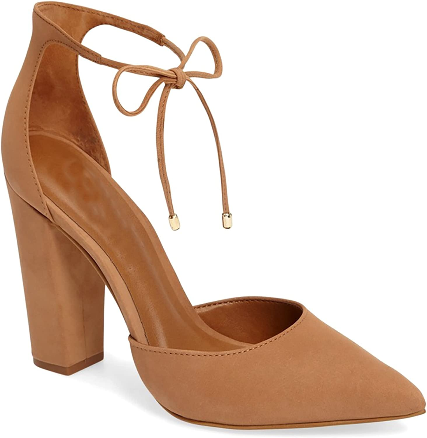 LUSTHAVE Women's Raina D'Orsay Lace Up Tie Up Chunky Wraped Block High Heel Dress Pump