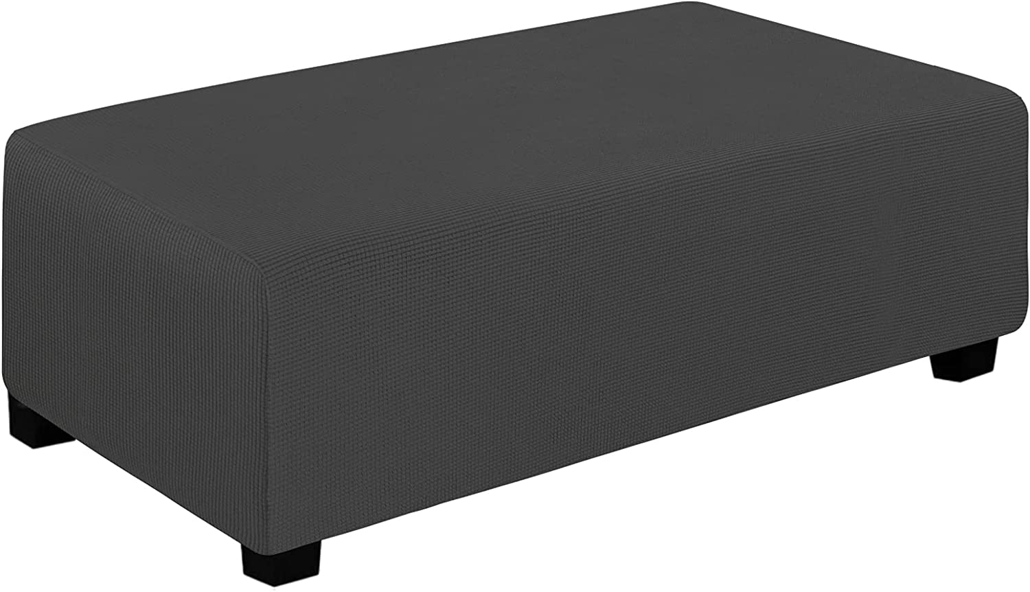 Easy-Going Stretch Ottoman Cover Folding Storage Stool Furniture Protector Soft Rectangle slipcover with Elastic Bottom (XX-Large,Dark Gray)