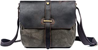 WUDON Small Leather Crossbody Bag - Vintage Messenger Bag Purse Casual Daypack