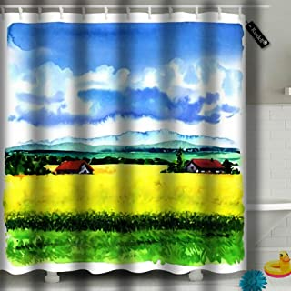txregxy Shower Curtain Bath Curtain Village Landscape with Green Field and Country Houses Watercolor Decorative Modern Bathroom Accessories 72 by 9704 Inches 60