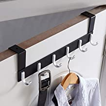 KAIYING Over The Door Hook Hanger,Heavy Duty Organizer Rack for Coat, Towel, Bag, Robe - 6/7 Hooks, Aluminum, Polished Fin...