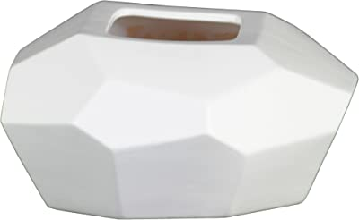 Urban Trends Ceramic Patterned Irregular Round Square Mouth and Tapered Bottom LG Matte Finish White Vase