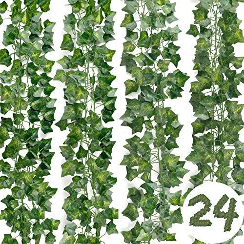 DazSpirit Plantas Hiedra Artificial 24 Piezas Hojas de Hiedra Guirnalda , 168 Ft Guirnalda Hiedra Artificial Decoración Interior y Exterior, De Jardín, Valla, Hogar, Boda, Escalera para Decoración