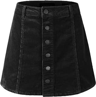 Women's Must Have Cute Corduroy Button Down A-Line Mini Skirt