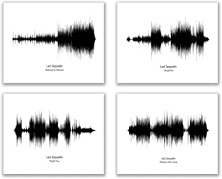 Blue River Led Zeppelin Sound Wave Wall Art Decor Prints - Set of 4 (8x10) Inch Poster Photos