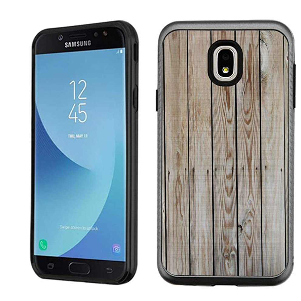 Samsung Galaxy J7 Star / J7 Refine / J7 2018, OneToughShield Dual Layer Bumper Protector Phone Case Cover Brushed Texture - Wood Print