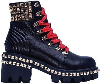 أحذية Cape Robbin Nia Combat للنساء، أحذية طويلة حتى الكاحل ذات كعب مكتنز، أحذية برقبة عالية للنساء (أسود، رقم_7)