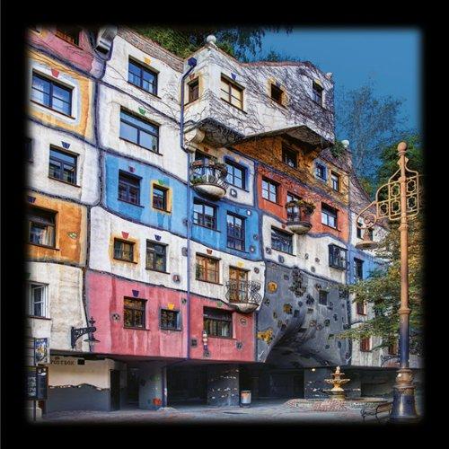 Kunstdruck / Poster Friedensreich Hundertwasser - HUNDERTWASSER-HAUS WIEN - 48 x 48cm - Premiumqualität - Fotografie, Photografie, Architektur, Österreich, Wien, Haus geometrische Muster, Wohnzimmer - MADE IN GERMANY - ART-GALERIE-SHOPde