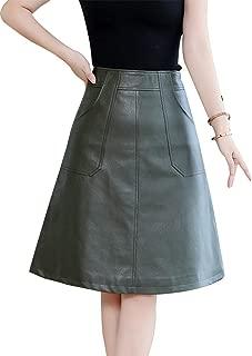 Women's Basic Black/Green Knee Length Faux Leather A-Line Midi Skirt