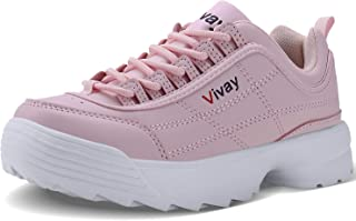 Caitin Kids Casual Walking Shoes Lightweight Leather Fashion Sneakers for Girls and Boys (Little Kid/Big Kid) Pink