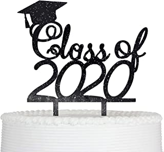 Class of 2020 Cake Topper Graduation Grad Party Decorations (Black Giltter)