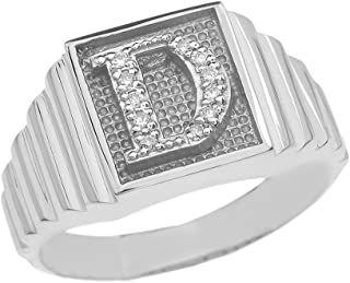 Men's 925 Sterling Silver Layered Band Square Face Diamond Initial Letter D Ring