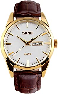 Mens Stylish Analog Quartz Waterproof Business Dress Classic Watch with Stainless Steel Gold Case,Military Watch with Brow...