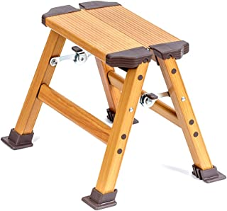 StrongTek Folding Step Ladder, Aluminum Frame with Woodgrain Finish, Lightweight and Portable Stool for Kitchen, Garage, Closet, Home Use, Anti-Slip Wide Pedals, One Step