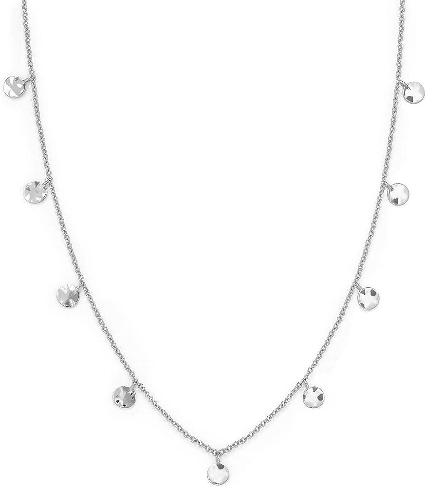 Rosefield, collana da donna, con ciondoli a forma di monete, in ottone con placcatura in argento JTCWS-J098