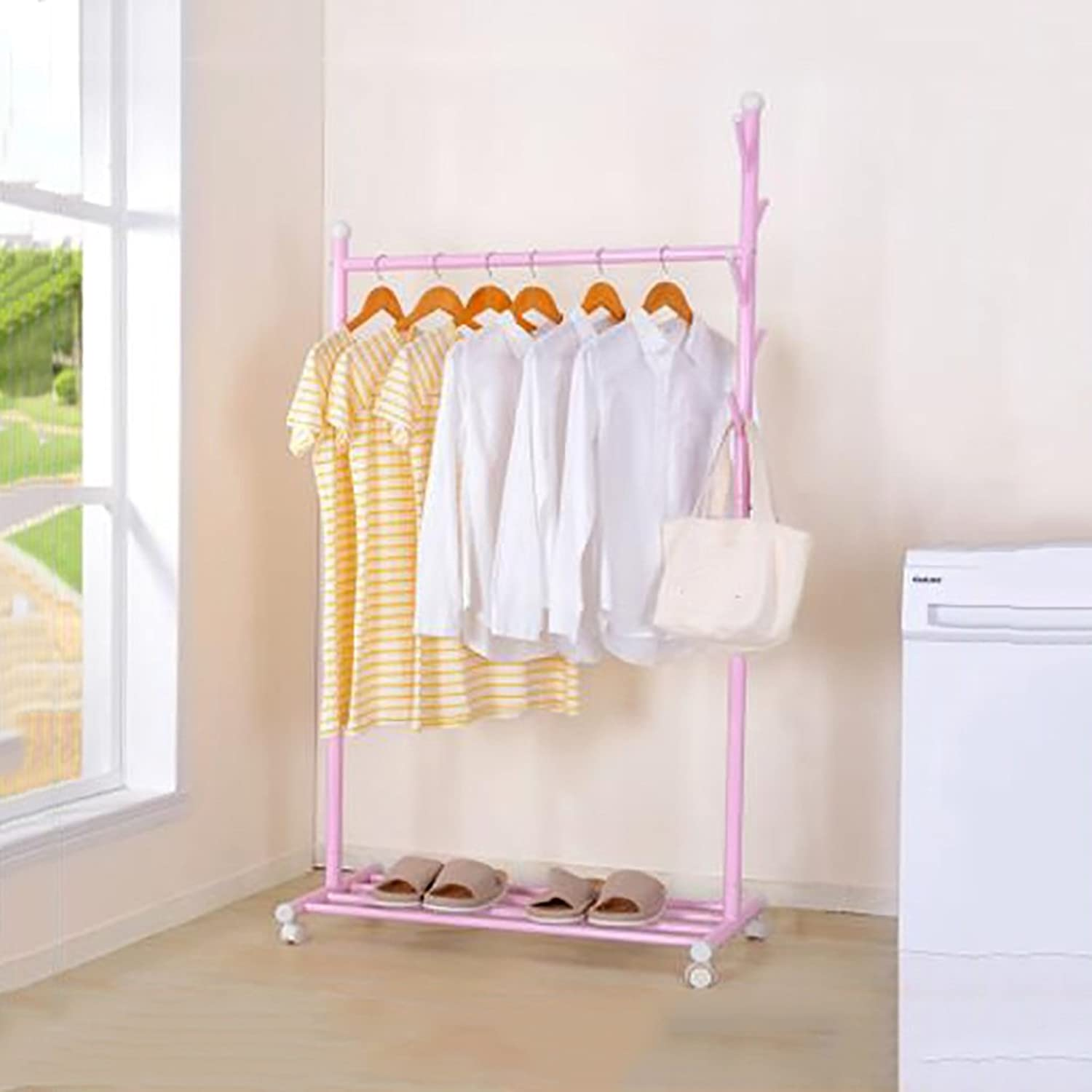 KKCF Floor Standing Coat Hat Rack Metal Movable Combination Type shoes Shelf 5 Hooks, 4 colors, 88  43  165cm (color   Pink)