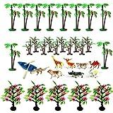 Woohome 34 Pz Modelo rbol Palmeras de Coco Modelo Decoraciones de pastel de rboles de animales para proyectos, manualidades de bricolaje para nios, decoraciones de pasteles