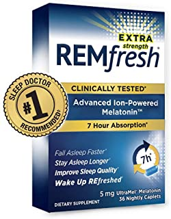 REMfresh Extra Strength 5mg Melatonin Sleep Aid Supplement (36 Caplet) | Sleep Supports Immune Function | #...