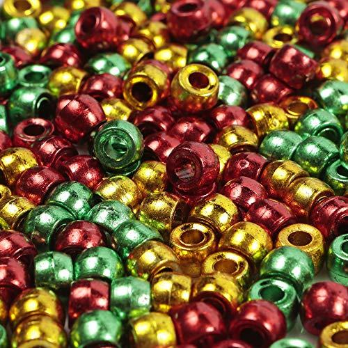 """200 Stück """"Merry Christmas""""-Pony-Perlen-Mix 9 mm x 6 mm Perlen (rot, grün, gold)"""