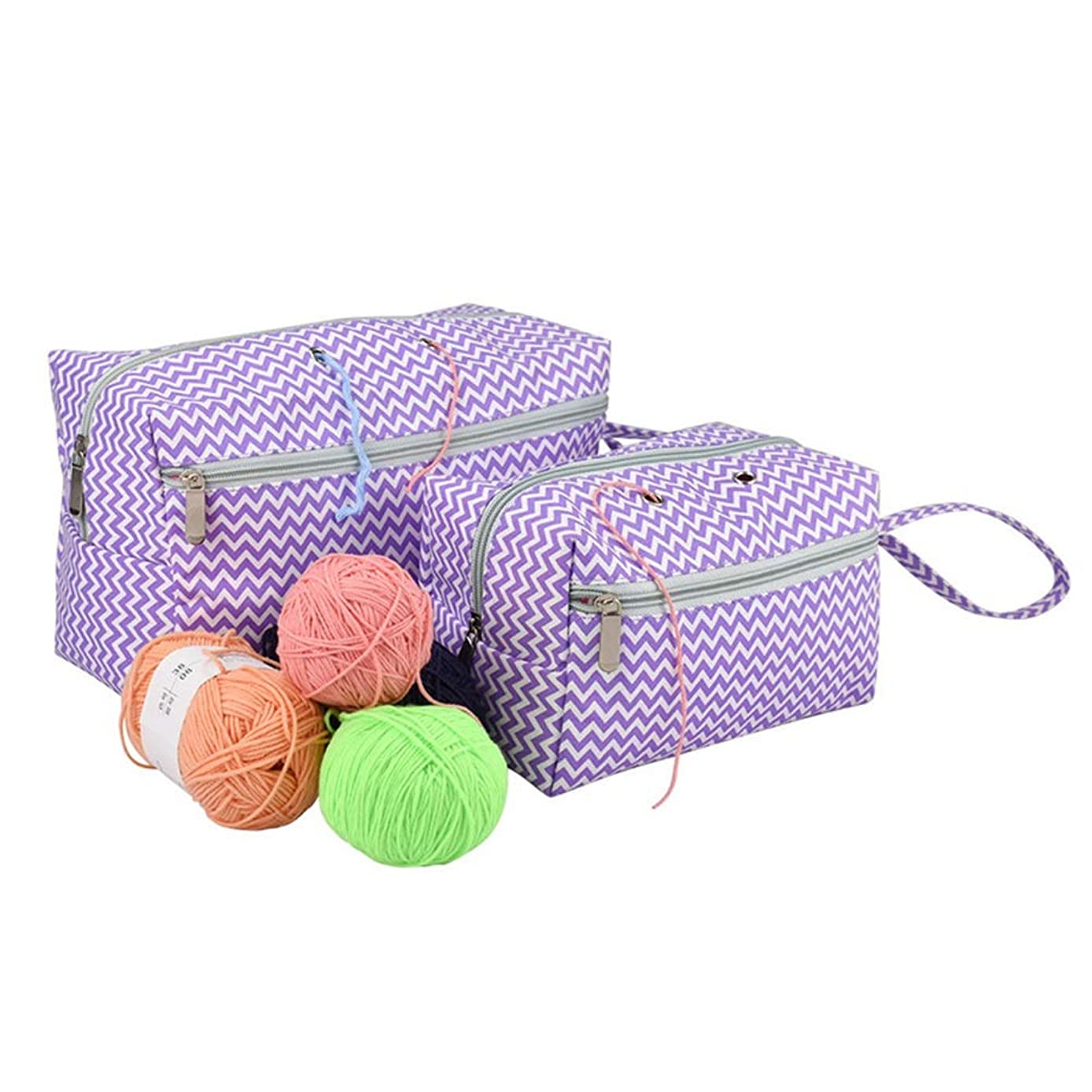 Small Knitting Bag, Yarn Storage Bag for Yarn Skeins, Crochet Hooks, Knitting Needles and Other Small Accessories, Travel Yarn Organizer (S + L)