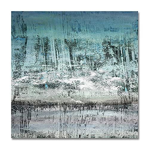 Abstrakte gemalte Malerei Landschaftsbilder auf Leinwand Wandkunst Bilder für Schlafzimmer Wohnzimmer Home Decoration-25x25cm rahmenlos