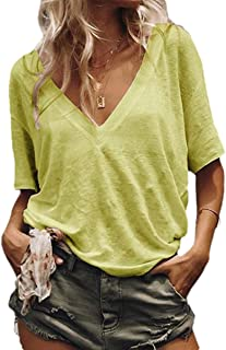 Howely Women V-Neck Sexy Plus Size Casual Short-Sleeve Tops T Shirts Blouse