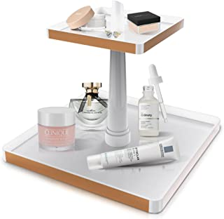 2 Tier Makeup Organisers and skincare organiser tower in white with rose gold trim. Perfect storage for creams, perfume, j...