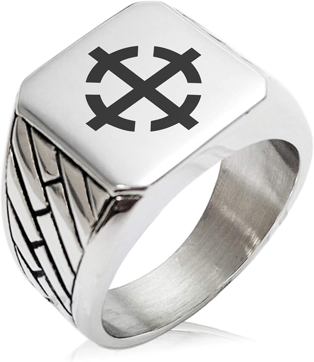 Tioneer Stainless Steel Assassin Emblem Geometric Pattern Biker Style Polished Ring