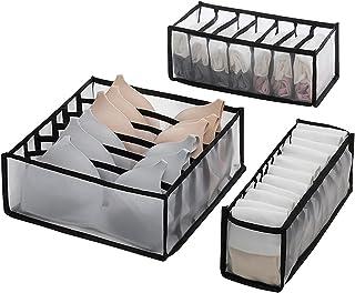Wishstar Box Rangement sous Vetement, Lot de 3 Boite de Rangement Tiroir Pliable, Rangement Tiroir pour sous-Vêtements/Sou...