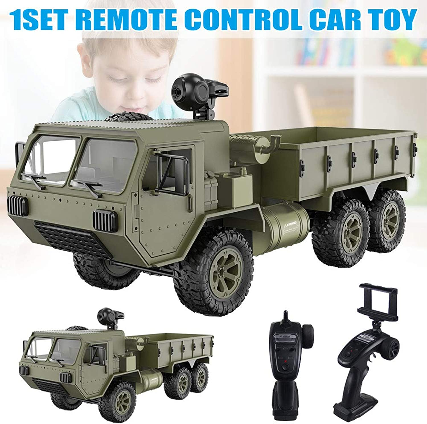 1 16 2.4G 6WD RC Car Proportional Control Army Military Truck Model Toys Foviza Kids Gift