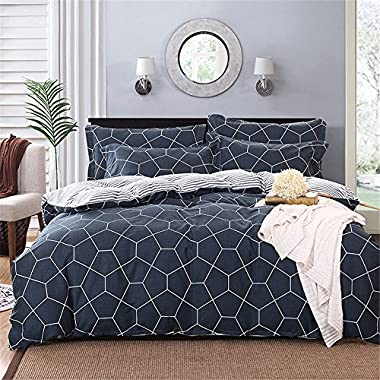 Diamond Bedding Duvet Cover Set King,Grey Blue Geometric Duvet Cover with 2 Pillow Shams - Hotel Quality 100% Cotton - Luxurious, Comfortable, Breathable, Soft and Extremely Durable (King, Space)