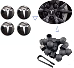 Teslamotors Tesla Model 3, Aero Wheel Cap Kit, TSLA S& X, Accessories,Performance Center Cap, Lug Nut Cover