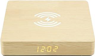 Iycorish Alarm Clock with Phone Charger LED Modern Digital Clock with Qi Charging Electronic Desktop Clock Despertado